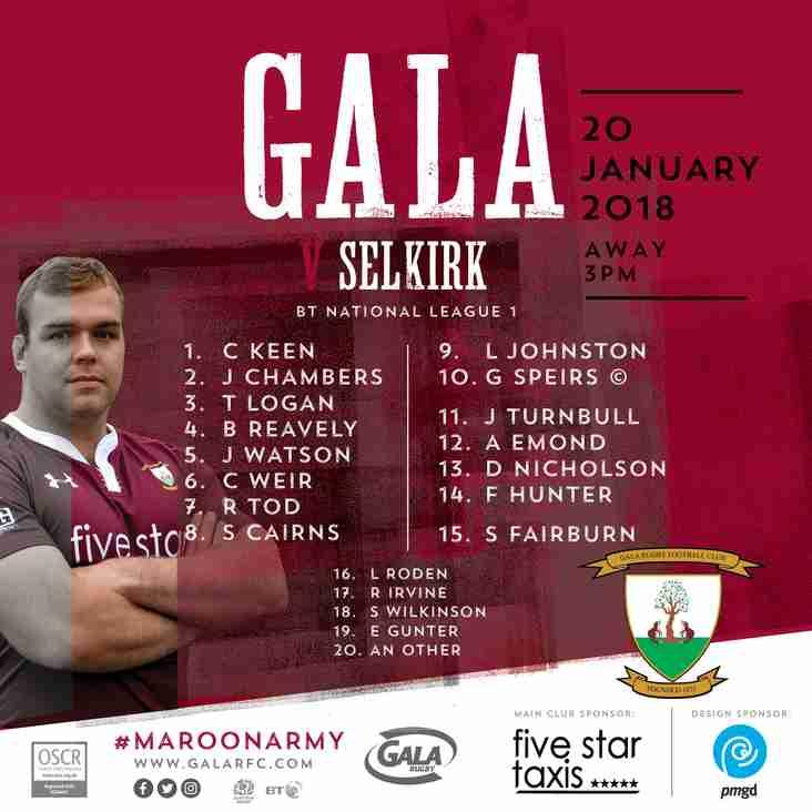 Gala on the road again, this week to Selkirk