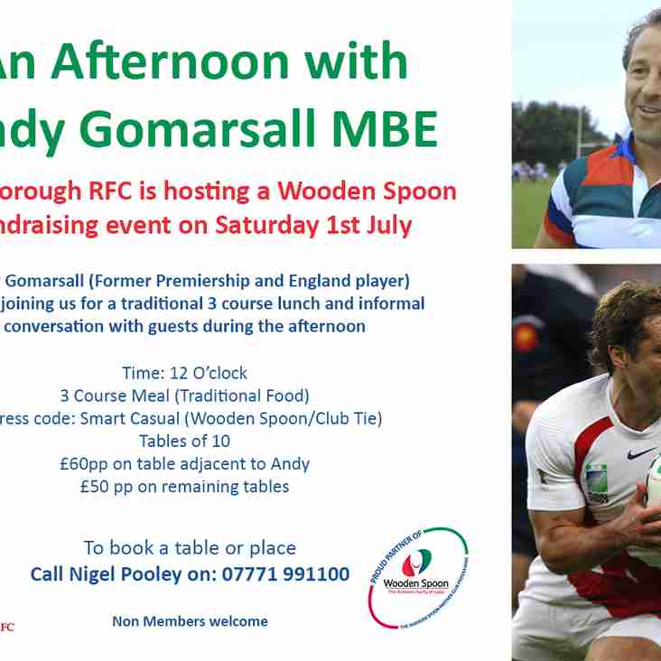 CRFC Wooden Spoon Fundraising Event An Afternoon with Andy Gomarsall