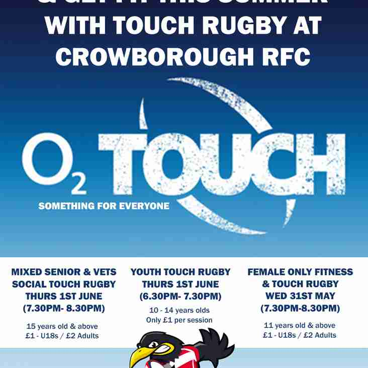 O2 Touch Rugby every week at the club