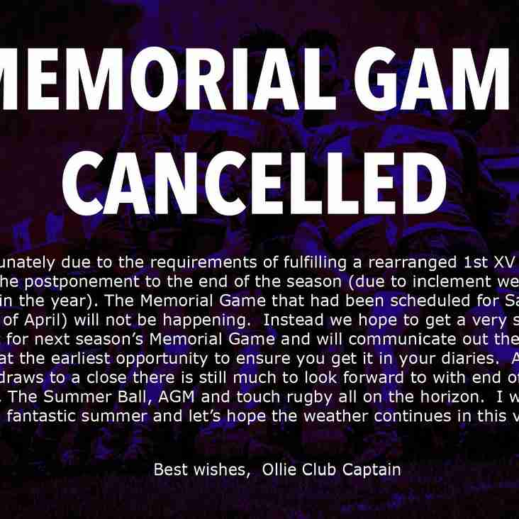 MEMORIAL GAME CANCELLED