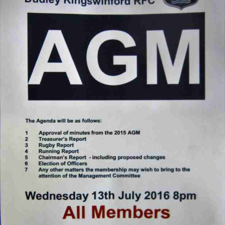 Notice of AGM Wednesday 13th July, 2016.