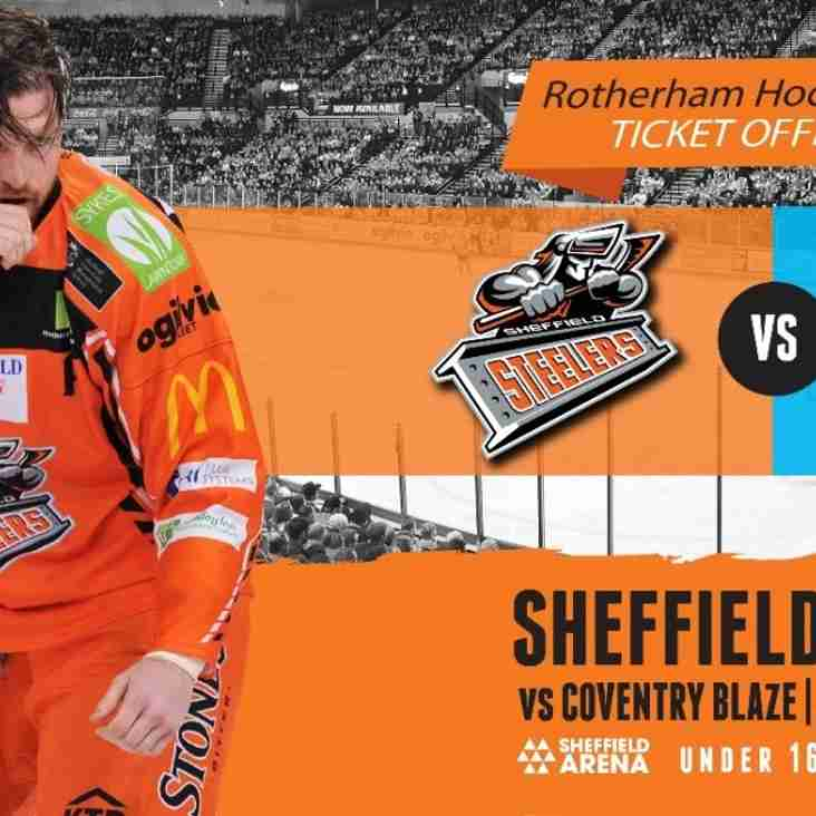 **LAST CHANCE** - come and watch 'Sheffield Steelers' live in action on 30th September 17 at Sheffield Arena