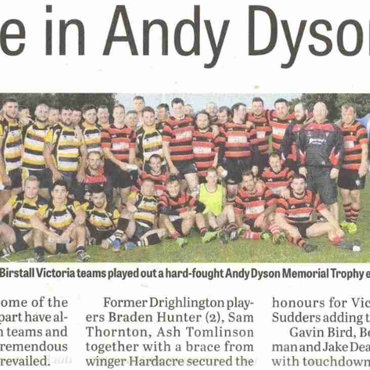 Victoria Rule in this Year's Andy Dyson Memorial Clash!