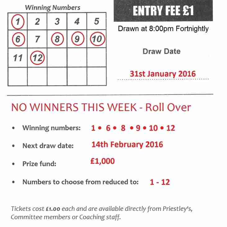 Fortnightly 'Lotto Draw' - Jackpot remains at £1,000