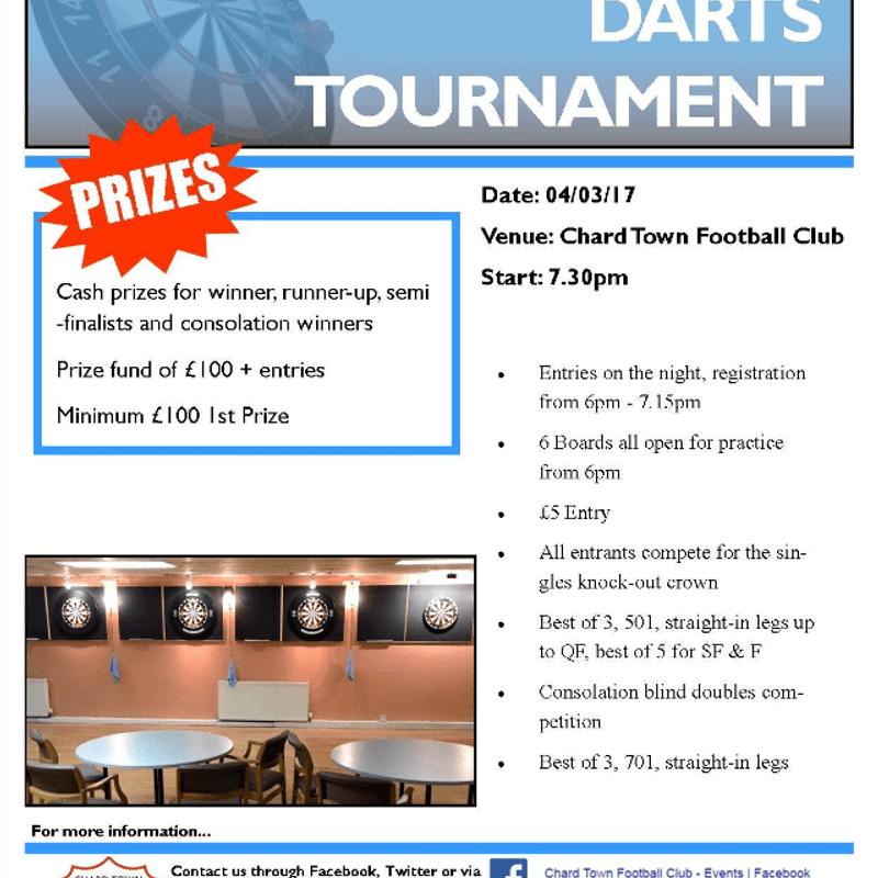 Chard Town FC Darts Tournament - Next Week