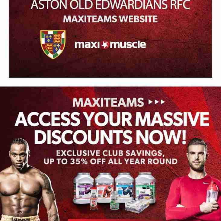 AOE are now a MAXITEAM - Get discounts off of Maxi Nutrition Products!