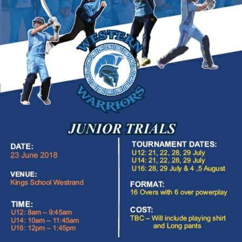 Trials for the Western Warriors Juniors this Saturday