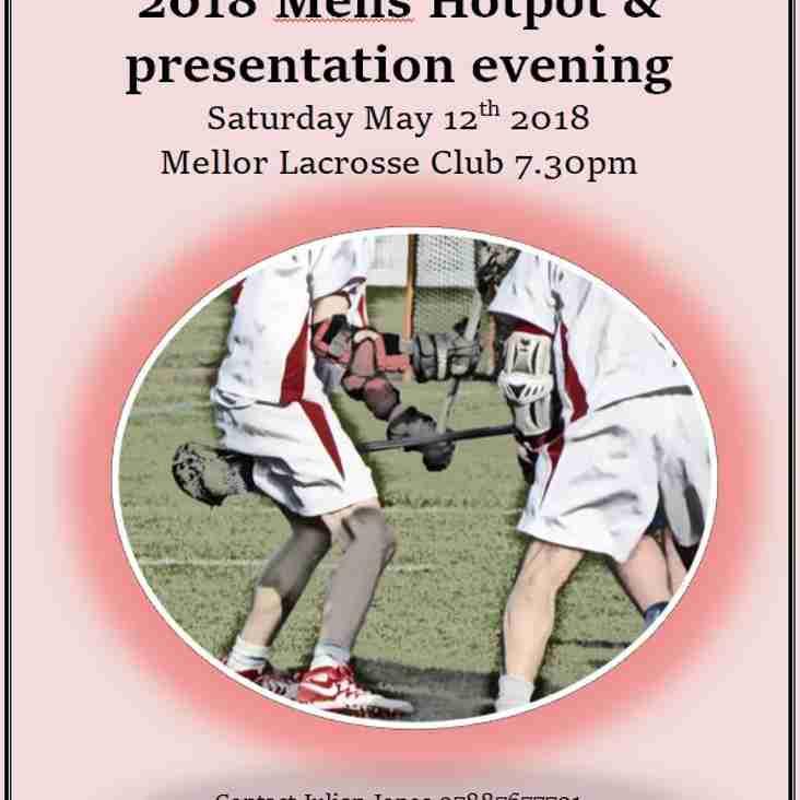 Mens Hot Pot and presentation evening Saturday May 12th.