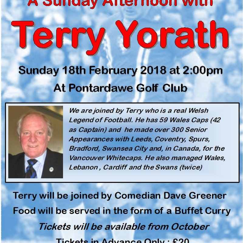 Sunday Afternoon With Terry Yorath (CANCELLED)