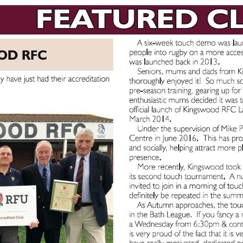 Kingswood RFC Feature in Gloucestershire RFU Magazine