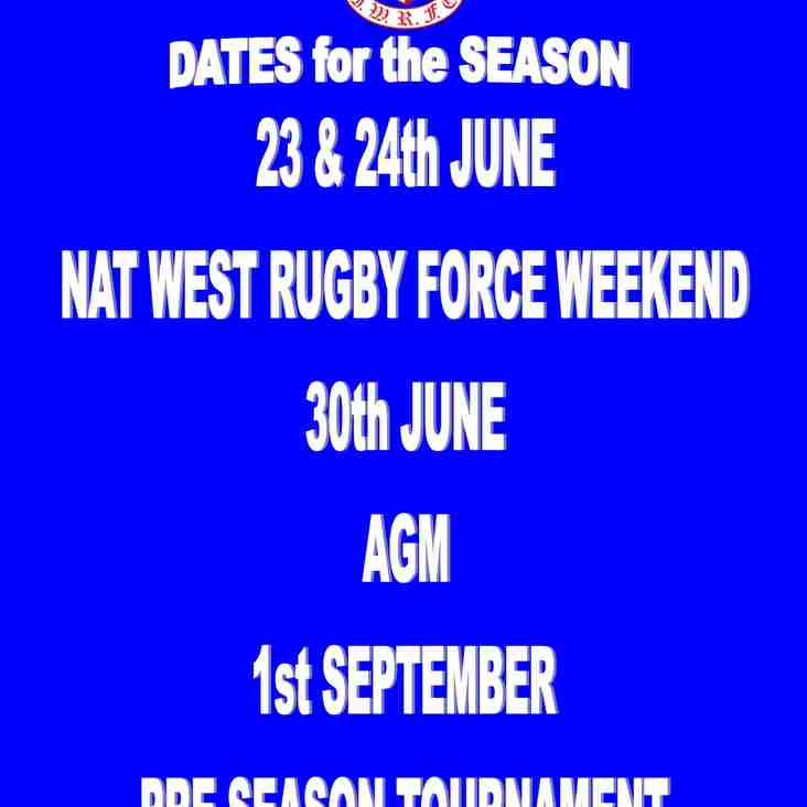DATES FOR THE DIARY