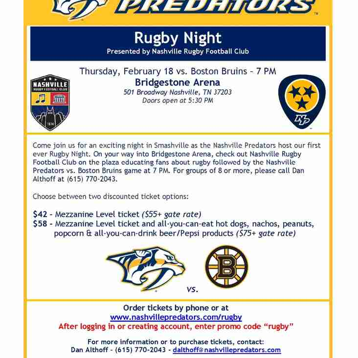 Rugby Night with the Nashville Predators
