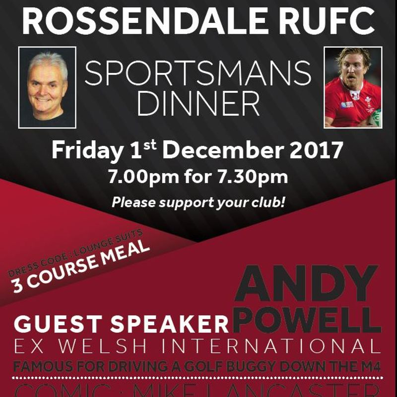 Sportsmans Dinner with Welsh International Andy Powell & comedian Mike Lancaster