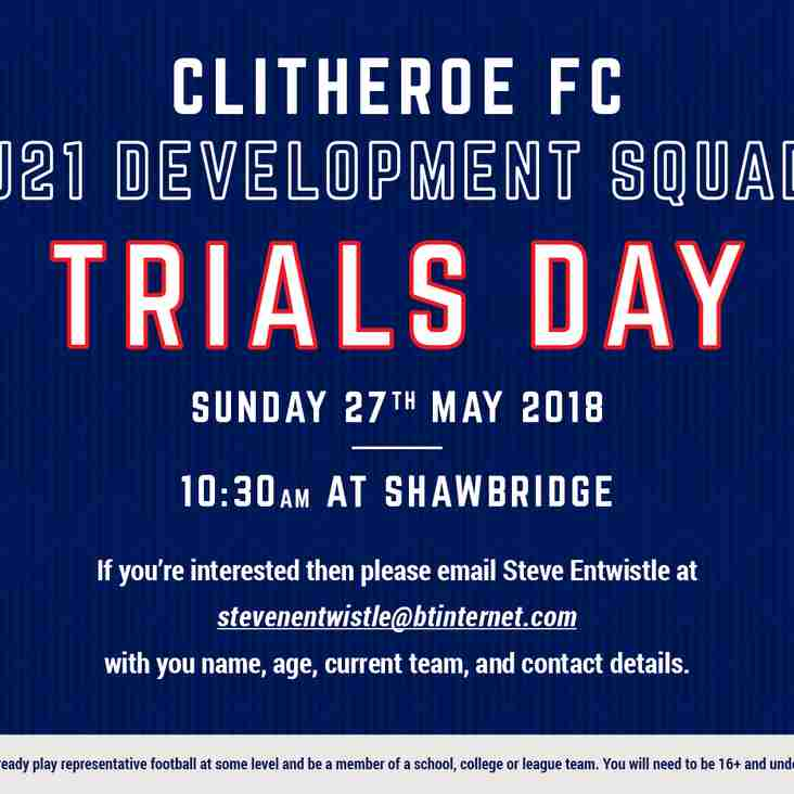 TRIALS DAY | Clitheroe U21 Development Squad trial day