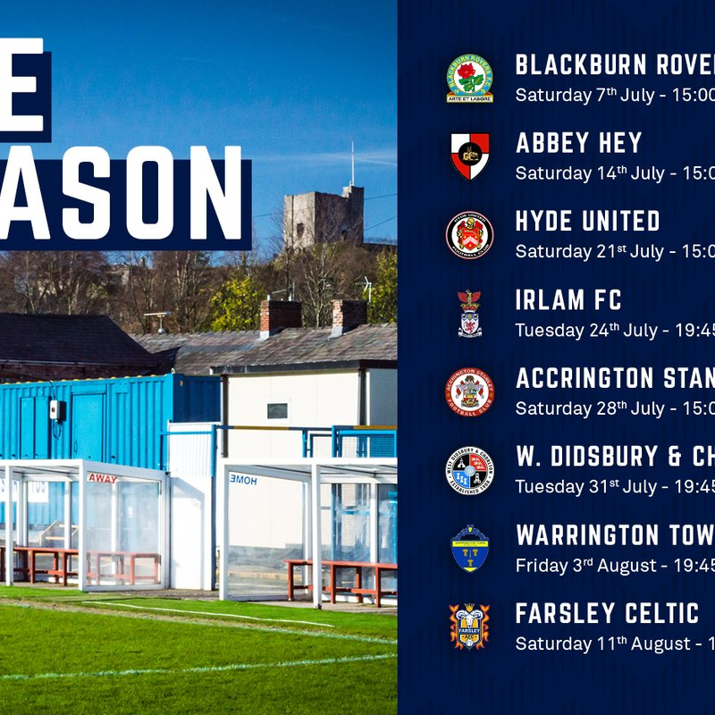 Pre-season schedule confirmed