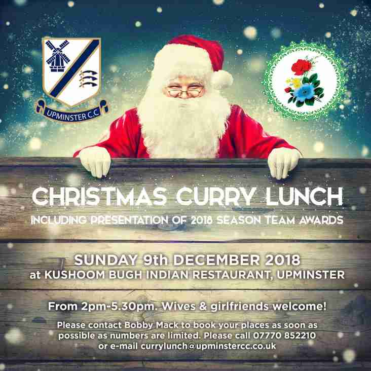 UCC Christmas Curry Lunch - Sunday 9th December (TICKETS SELLING FAST)