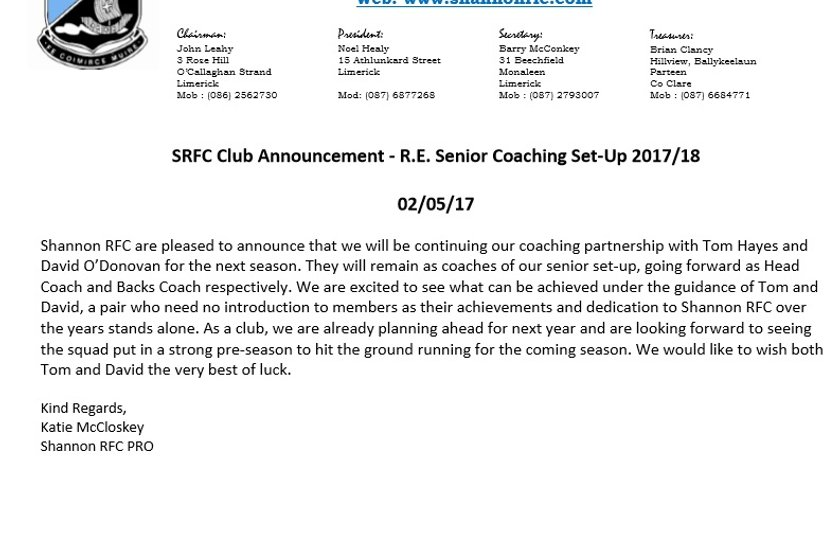 SRFC Club Announcement - R.E. Senior Coaching Set-Up 2017/18