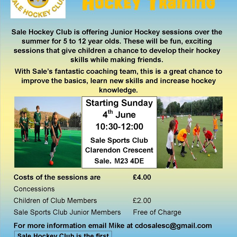 Junior Hockey training at Sale Sports Club