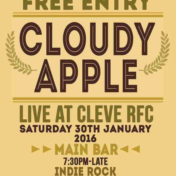 Cloudy Apple back by popular demand Saturday 30th January 16
