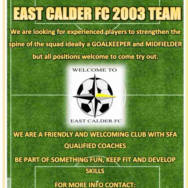 Players Required for 2003 team