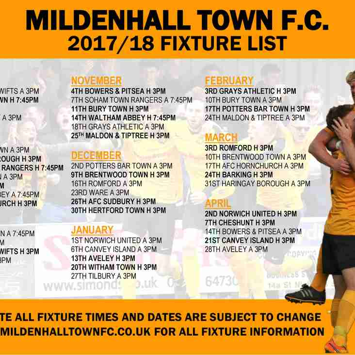 DOWNLOAD YOUR FREE MILDENHALL 2017-18 FIXTURES POSTER NOW