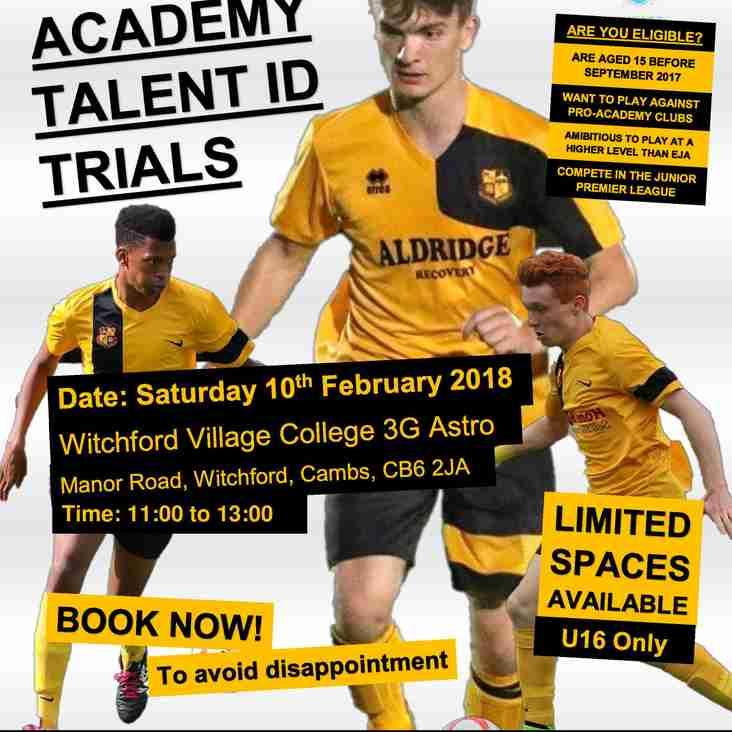 U16 Academy | Junior Premier League Open Trial Sessions 2018/19