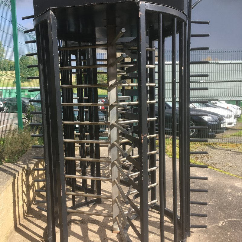 Pair of pre-used football turnstiles