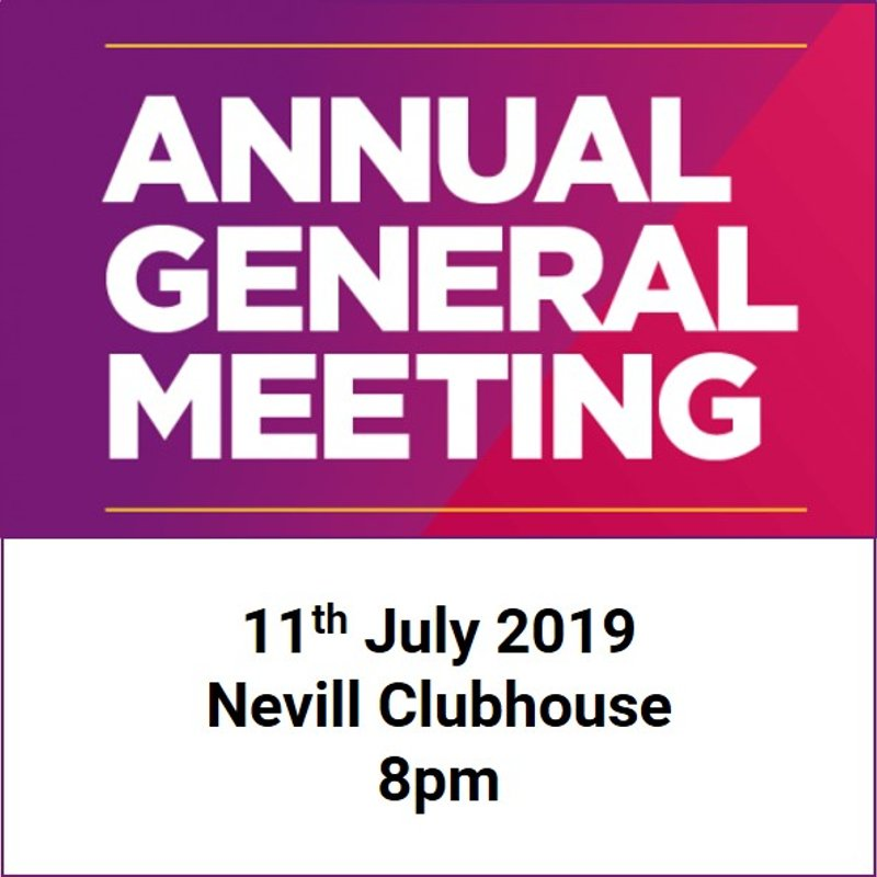 TWHC AGM - 11th July at the Nevill Clubhouse