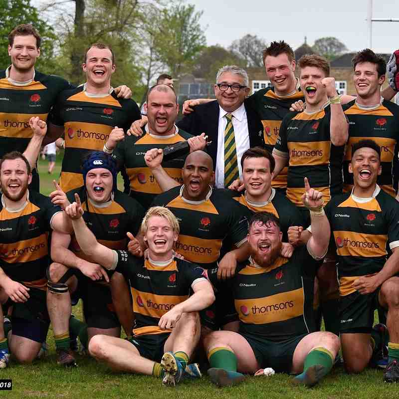 Barnes RFC Champions!Nat 3 League Winning Squad. Copyright Roy Carlisle 2018.