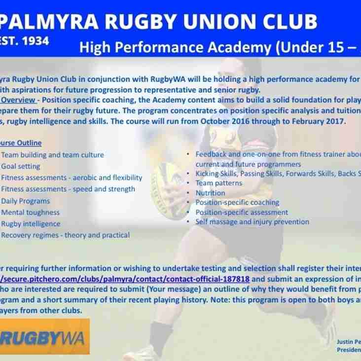 UPDATE: Palmyra Rugby Union Club High Performance Academy Commences