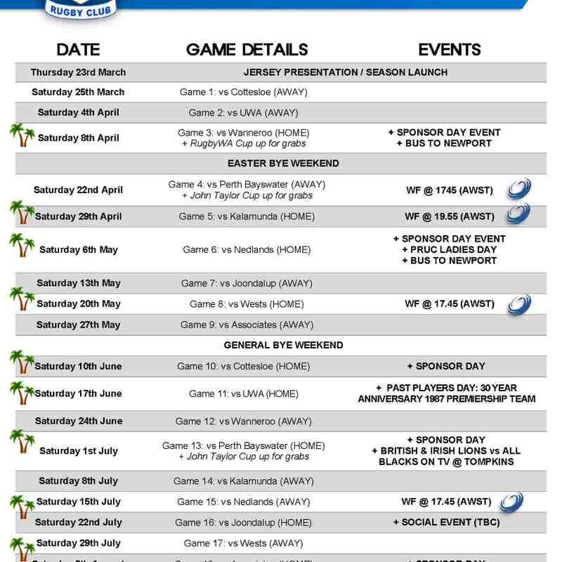 2017 Club Calendar of Events