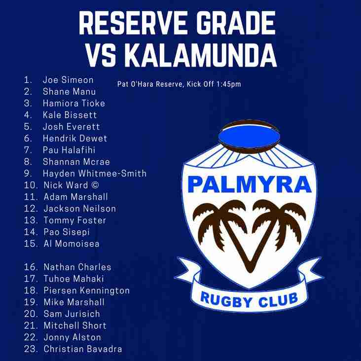 Reserve Grade side Announced