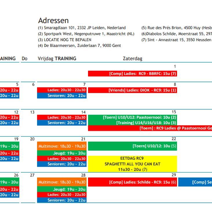 Rugby kalender April 2017