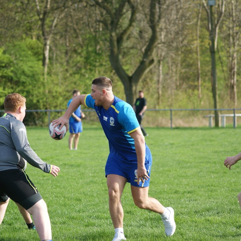 Soap players training with Warrington Wolves players