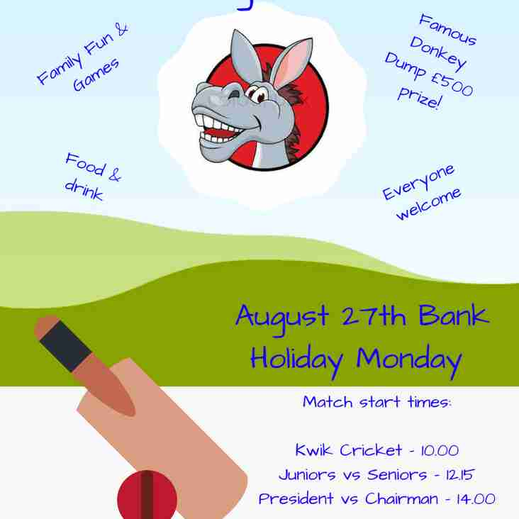 Date for your diary - August Bank Holiday Monday Big Bash!