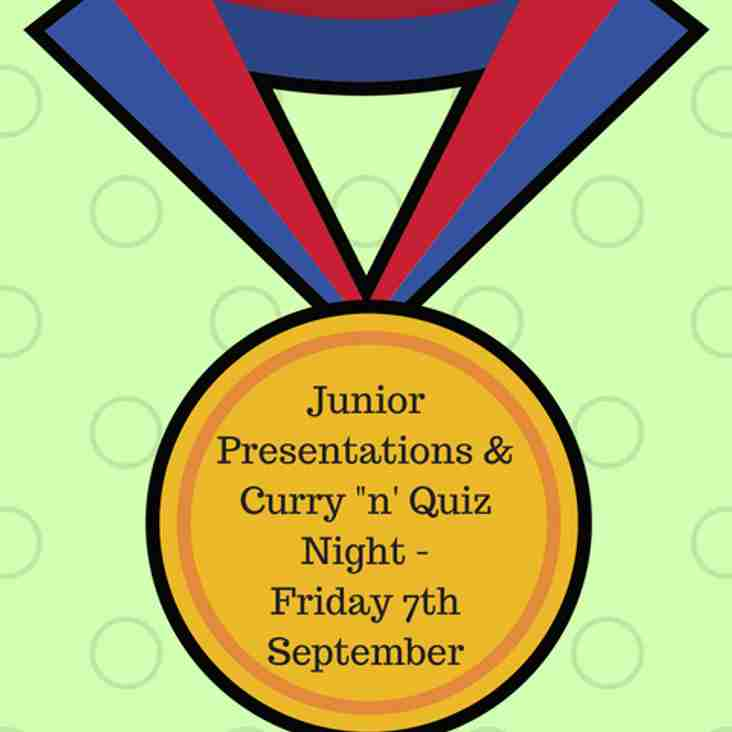 Date for your diary: Junior Presentations & Family Quiz 'n' Curry Night