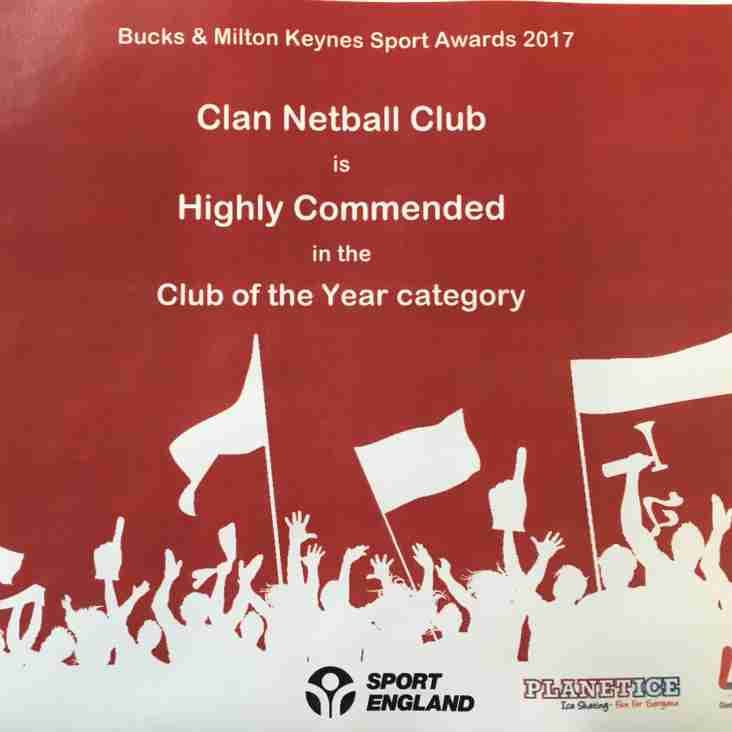 Clan Netball Club - Highly Commended in Club of the Year!