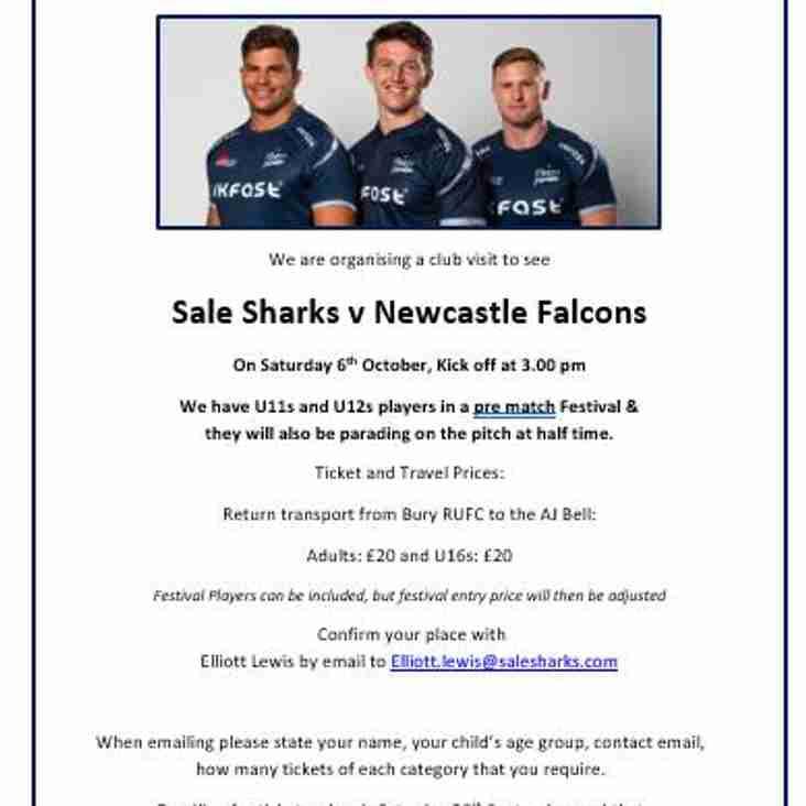Saturday 6th October - Sale vs Newcastle