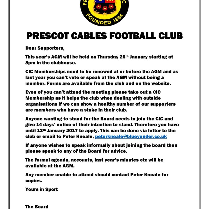 Date set for the Prescot Cables AGM