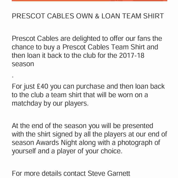 Prescot Cables Launch Own & Loan Shirt Offer