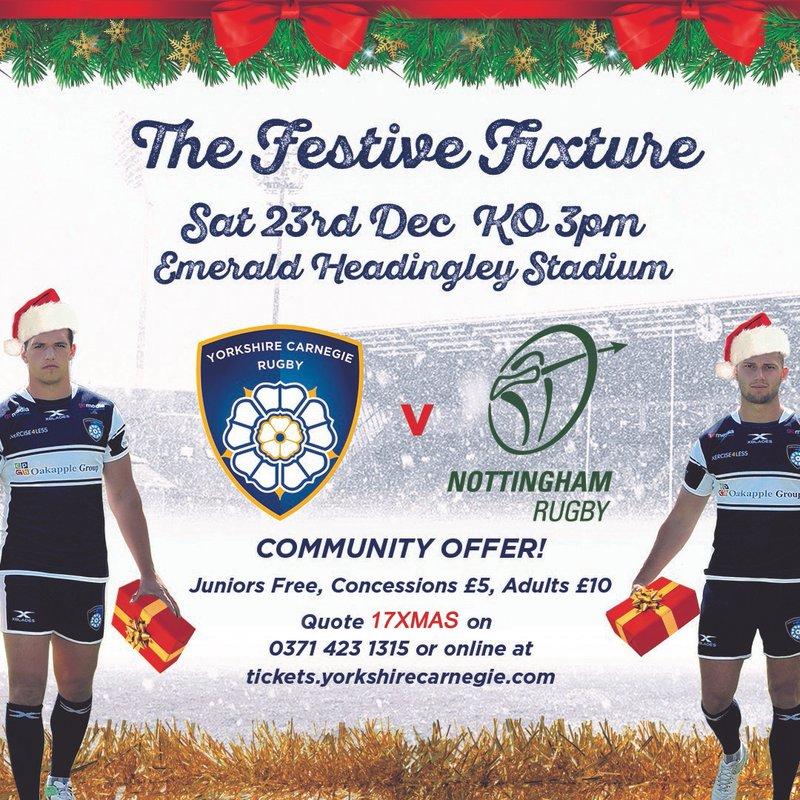 Kids go free - Yorkshire Carnegie v Nottingham Saturday 23rd December