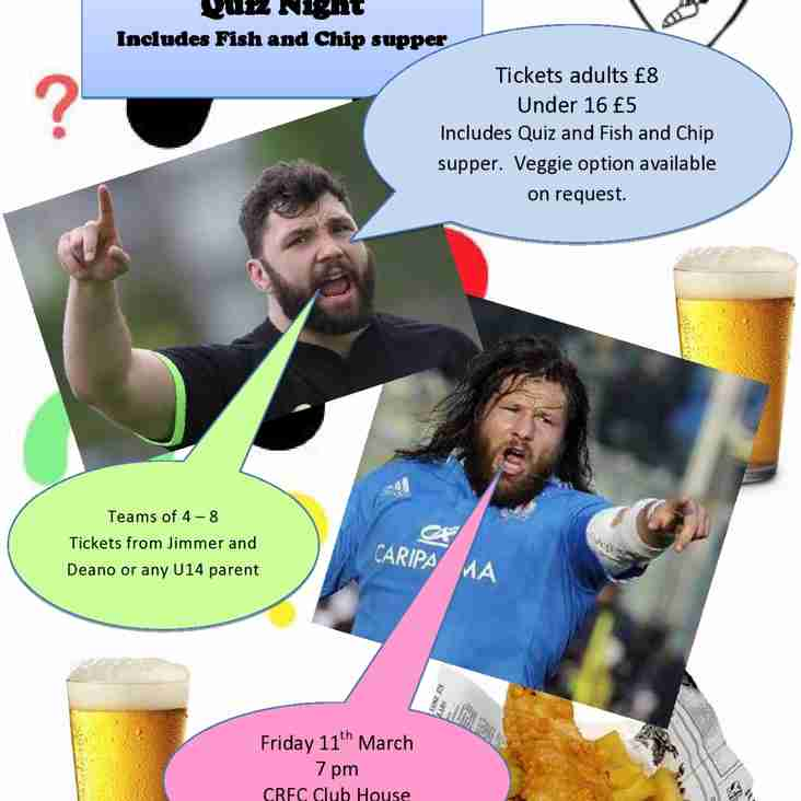 Get your Team Ready - U14's Quiz Night - Friday 11th March