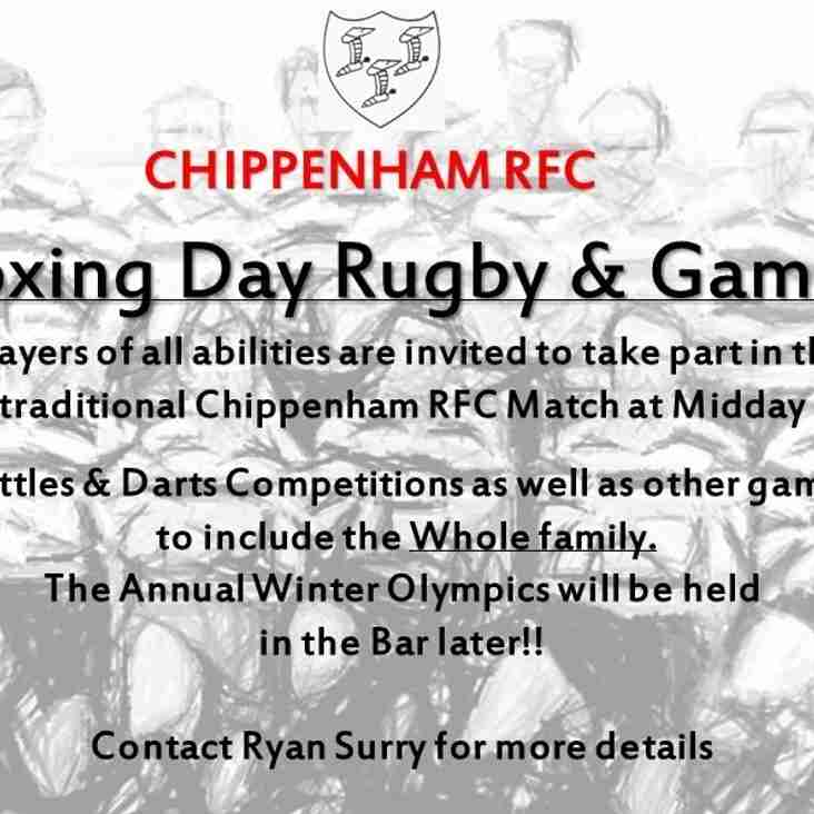 Boxing Day Rugby and Post-Match Games!!