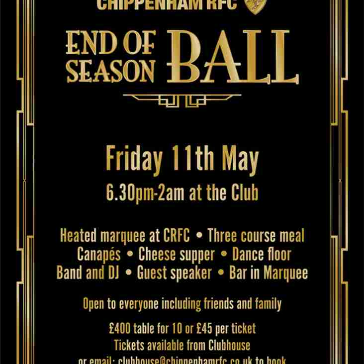 End of Season Ball Confirmed - 11th May 2018