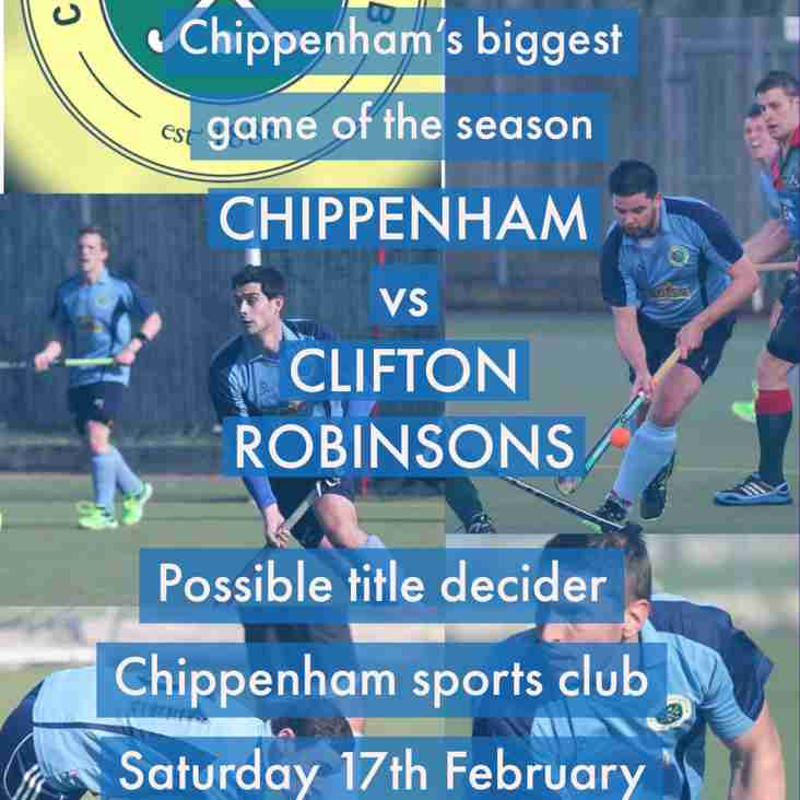 Chippenham v Clifton Robinsons - 13.30 - Saturday 17th February