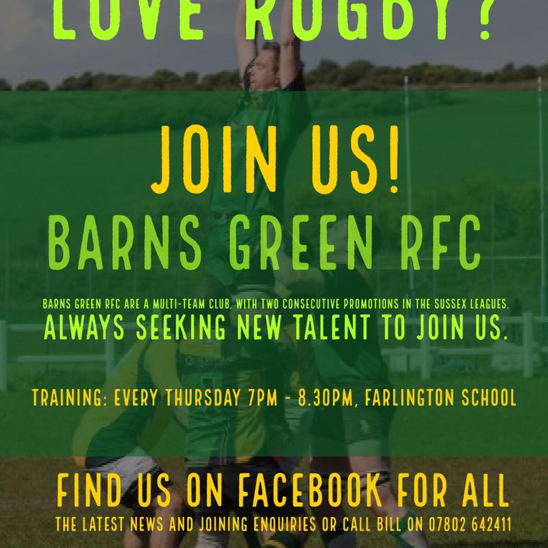 BGRFC are recruiting now for both 1st and 2nd XV