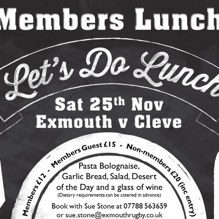 Members Lunch -  25th Nov