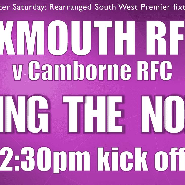 Exmouth RFC v Camborne RFC, Saturday 31st March, 2.30pm kick off