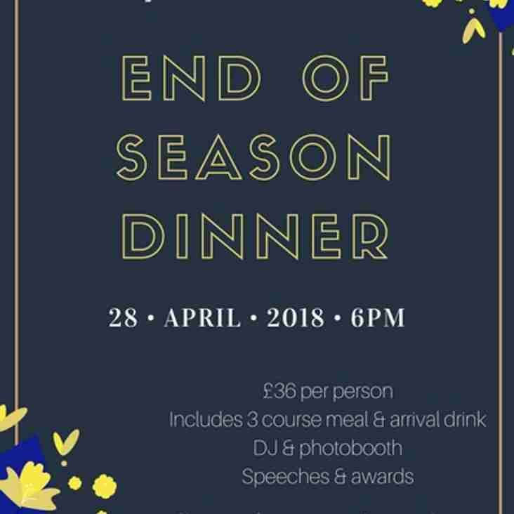 Get your 'End of Season Dinner' ticket