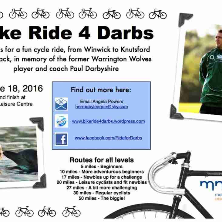 Woolston Rovers support 'Bike Ride for Darbs'